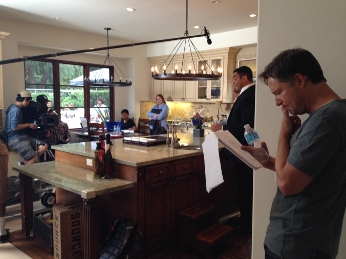 George Newborn visiting the set where friend Harry Lennix is shooting a movie.