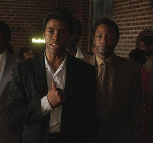 """Get On Up"" with Chadwick Boseman as James Brown and Nelsan Ellis as Bobby Byrd.  Photo:  Universal Pictures"